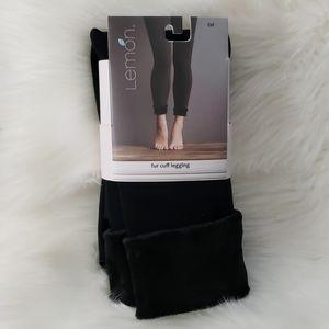 Black fur cuff leggings